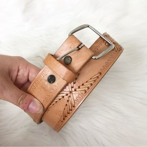 {Vintage} Made in Mexico Tooled Leather Belt